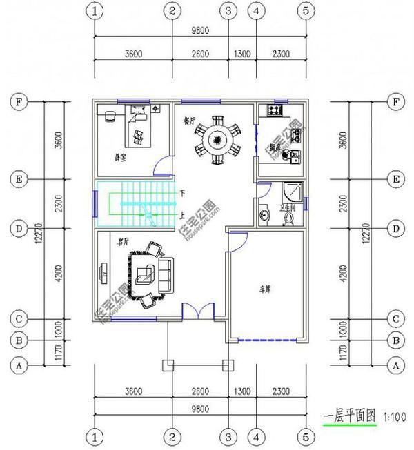 新农村自建房12米X10米3层半带车库露台含平面图