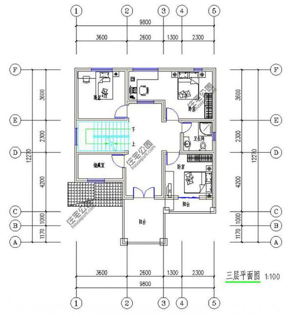 新农村自建房12米X10米3层半带车库露台含平面图图片
