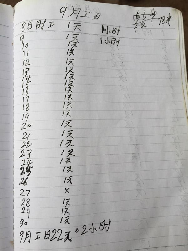 """61岁""""打工爷爷""""记工本:145天135.5天在干活"""