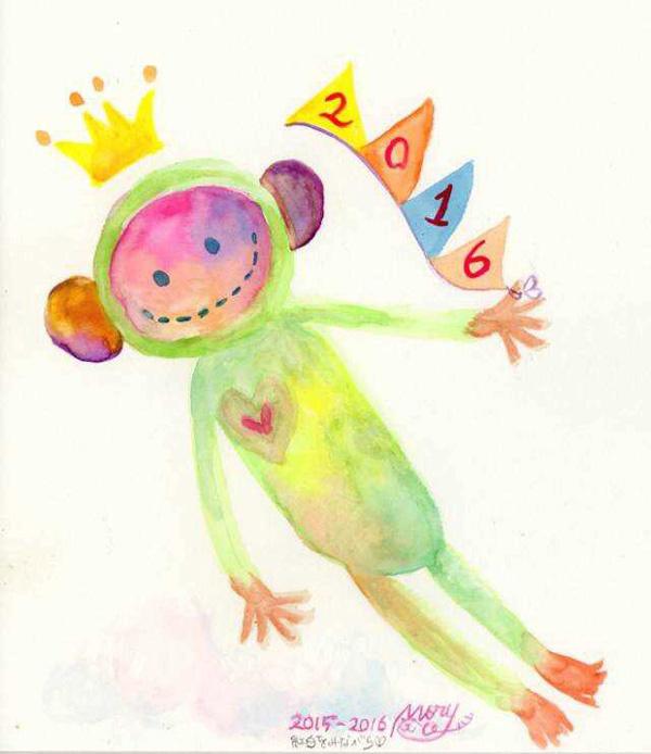 手绘猴年贺卡图片
