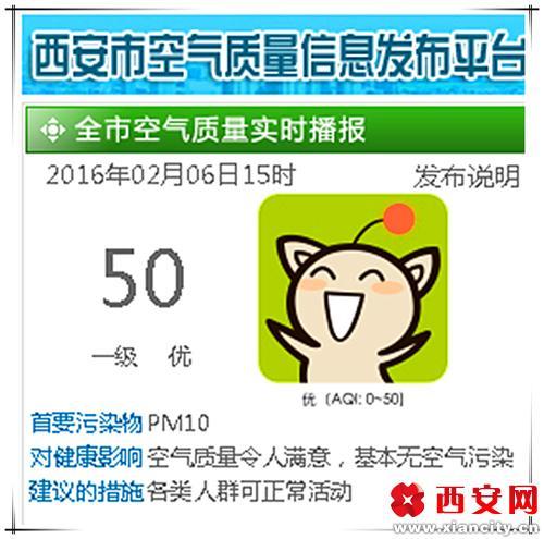 下午三点,记者从西安市环保局官网上了解到,今天的空气质量为一级,优<b