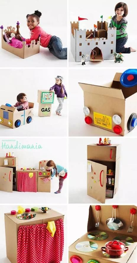用纸箱制作各种小动物或是小的建筑