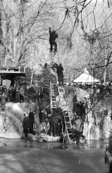 男孩头朝下挂在滑索上险些坠落 众人架梯将其救下