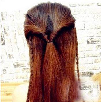 这样完美的带有麻花辫的半扎公主头发型就完成了.图片