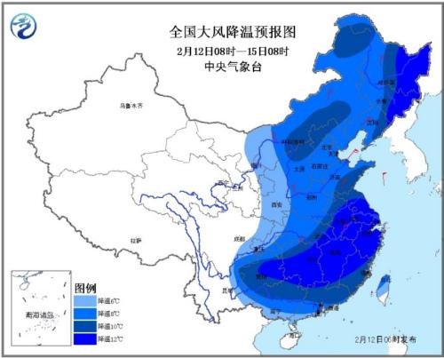 受较强冷空气影响,12日至14日我国中东部地区自北向南将先后有大风降温和雨雪天气,大部地区气温将下降6~10℃,东北地区东部、江淮、江南等地的部分地区降温幅度可达12~14℃,并伴有4~6级偏北风,阵风7~8级;0℃线将南压至长江中游沿线至江南东北部。黄淮及其以北地区最低气温出现时间在14日,江淮及其以南地区最低气温出现时间为15日凌晨。