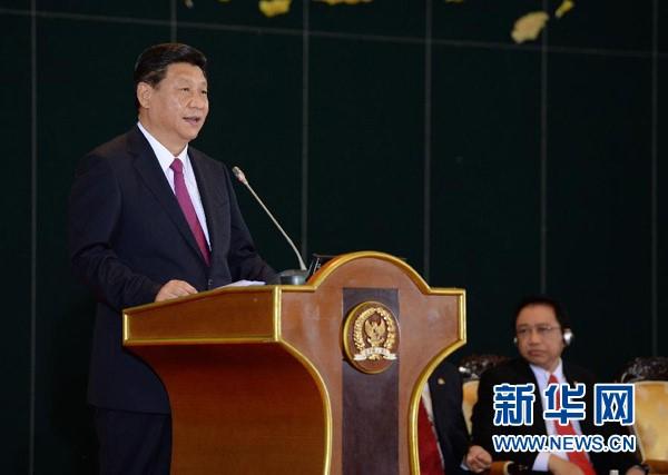 2013年10月3日,国家主席习近平在印度尼西亚国会发表题为《携手建设中国-东盟命运共同体》的重要演讲。 新华社记者 马占成 摄