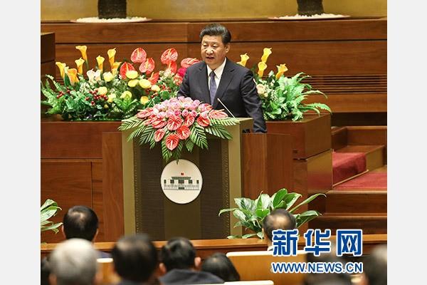 2015年11月6日,中共中央总书记、国家主席习近平在越南国会发表题为《共同谱写中越友好新篇章》的重要演讲。新华社记者庞兴雷摄
