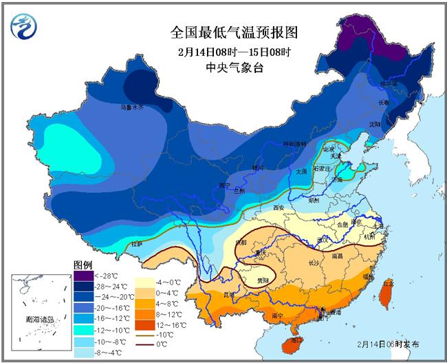 2016年2月14日至15日过程降温预报图