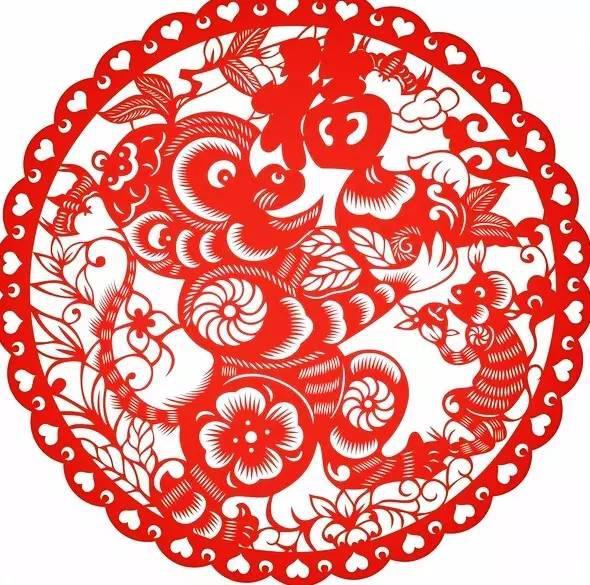 中国风猴年剪纸,美猴送福