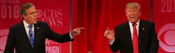 在本场辩论中,最针锋相对的当属特朗普与杰布?布什的嘴仗。