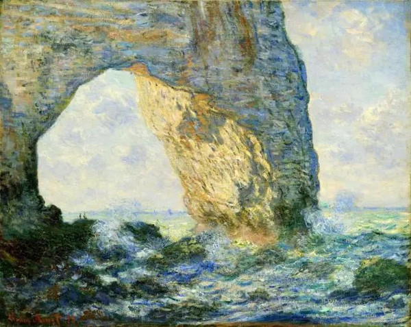 象鼻山西边的象鼻子(埃特尔塔的悬崖) 这幅画又名《埃特尔塔的悬崖》,艾特塔特石灰断崖矗立在诺曼底海岸上,因为其形象的高大奇特而被十八世纪的许多画家表现于画布之。在众多关于此景的油画作品中,以印象派画家莫奈的《埃特尔塔的悬崖》最为著名。 从构图上看,这是一个横幅作品,庞大的拱形悬崖占据了画幅的左上方三分之二的宽度,左侧岩壁沿着画布的左端被垂直切断。悬崖因此显出奇异的、巨大的视觉冲击力和鲜明的崇高感。 从色彩塑造方法上看,画家用写意的笔法表现天空和海的远景形象,用写实的笔法表现悬崖的背面和海的近景形象。以衬托出悬崖背光面和近景海面的有力的实景。 画家选取了景物的背光面来表现景物,显示了它的色彩表现功力。在大面积冷调子的背光面里,色彩丰富而厚重,笔法整�而严谨,给人以凝重而沉积的感觉,欣赏时需屏息而敛神。在此背景的反衬下,日光直射的悬崖色彩温暖而热烈。阳光中的景物和近景海面波浪用笔粗犷、跳跃,充满激情,与严谨的天空和背光悬崖的表达方法形成鲜明对比。这一部分的表现使整个画面形象丰富生动,色彩丰富而富于美感。