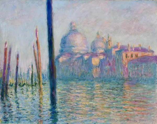威尼斯大运河 这是莫奈发挥印象派技法表现水城威尼斯梦幻迷朦流光倒影的经典之作。