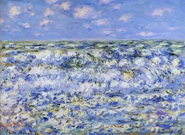 """海浪 莫奈表现法国海岸浪潮波涛的层叠翻滚和变换,色彩和动感强烈,同时和上空漂浮的云彩形成了""""浓妆淡抹""""和""""动静结合""""的对比。"""
