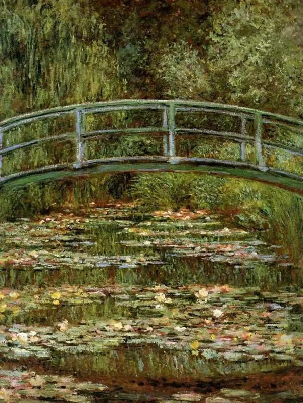 日本桥 一座漆成绿色的日本式的拱形木桥跨越池塘;水菖蒲、百子莲、杜鹃花科的观赏植物和绣球花环绕并保护着池塘。 水面上漂浮着粉红色的睡莲。柳树和紫藤直泻水面,使水的色调变得更深、更蓝。直到1895年,莫奈才画了第一张池塘和日本桥的画。从1898年起,他又画了些同一题材不同版本的方形的画,其中十来幅曾在杜朗-卢埃尔画廊举办的他的新作展中展出。