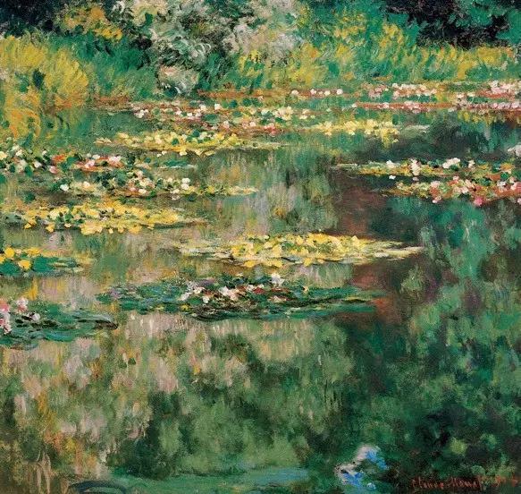 """睡莲 法国 莫奈 布上油画 纵89×横92厘米 丹佛美术馆藏 43岁的莫奈在吉维尼定居后,在庭院里修了一个池塘,在池塘里繁殖了睡莲,成为他晚年描绘的主要对象。这幅《睡莲》是莫奈64岁时所作的早期小幅作品。 莫奈晚年最重要的一件作品是连作《睡莲》。这是一部宏伟史诗,是他一生中最辉煌灿烂的""""第九交响乐""""。1880 年之后,莫奈与印象派的其他画家们疏远了,他在吉维尼造了一座小花园,住在里面作画。他喜欢把水与空气和某种具有意境的情调结合起来,这样产生了《睡莲》组画。 沿着水面,美丽的睡莲一片片向湖面远处扩展开来,画家利用了树的倒影,衬托出花朵的层次,是十分有创造性的 构思。莫奈把整个身心都投在这个池塘和他的睡莲上面了,睡莲成了他晚年描绘的主题。此后27 年里,他几乎再也没有离开过这个主题。"""