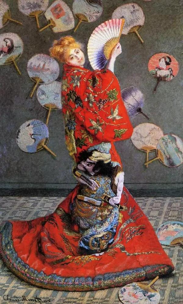 """《穿日本和服的卡美伊》这幅作品,和莫奈以往甚至以后的诸多作品相比较,风格是独特乃至迥异的。莫奈的印象派风景画,以户外自然光线下的色彩变化为其主要追求效果,因此有人称其为""""外光画派"""",而这一幅《穿日本和服的卡美伊・莫奈》显然是在室内完成的,整幅画上可靠的光源,主要来自右侧的窗子,缺少以往户外直射的阳光。其二,一般来说,由于非直射光线的缘故,室内画的颜色更多偏向中性一些,而这一幅画的颜色却异常浓重、猛烈,说明这是画家要刻意追求的效果。第三,和莫奈以往不关注作品的细节处理不同,这幅画对人物、对衣服的花纹,甚至包括对背景中团扇上花纹等等细节的处理都很细致,这也和莫奈以往的风格也不相符合。第四,也是更重要的一点,这幅画所处理的异域风格主题,放在莫奈的整个作画传统中,都是比较突兀的。和服、日本团扇、折扇、榻榻米、浮世绘歌姬、能剧鬼脸等等日本元素,构成了这幅画主要的内容。"""
