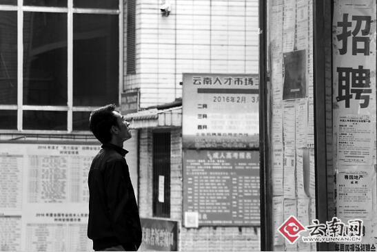 2月3日,在省人才市场,一位市民正在看招聘信息。 记者 高伟 实习生 周柯妤 摄