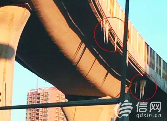 高架桥上伸出冰锥让人揪心 来往需注意安全(图)图片