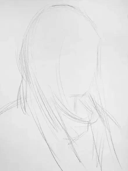 女青年素描头像步骤图