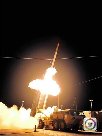 资料图:萨德导弹开火。