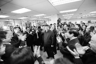 19日上午,习近平总书记到人民日报社调研 图/新华视点