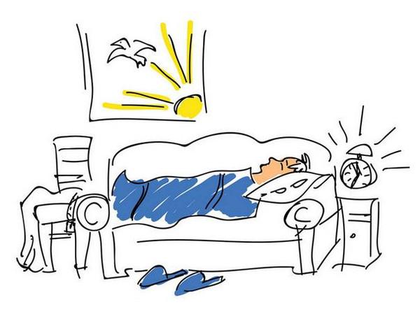 清晨起床卡通手绘