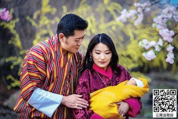 不丹皇室在社交网络上上传了小王子以及一家三口的照片,幸福满溢.图片