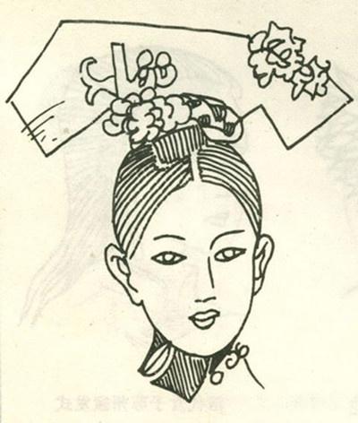 清朝手绘漫画头饰