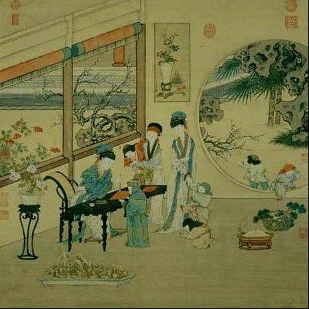 清金廷标描绘的东汉班昭援笔授书故事(台北故宫博物院)