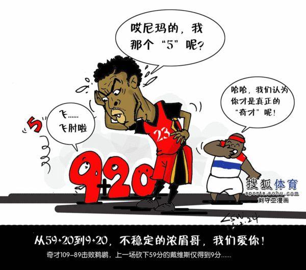 不稳定的浓眉哥-NBA漫画 数据从59 20到9 20 浓眉哥真是太奇葩