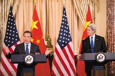 当地时间2月23日,美国华盛顿,正在美国进行正式访问的外交部长王毅同美国国务卿克里举行会谈,并在会谈后共同出席联合新闻发布会。 图/CFP