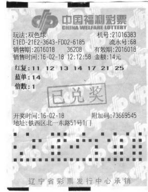 """沈阳彩民""""7+1""""复式喜中018期双色球二等奖"""