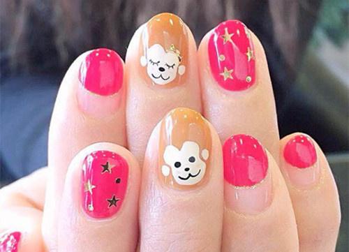绘制几只自己喜欢的动物或动物形象在指甲上吧