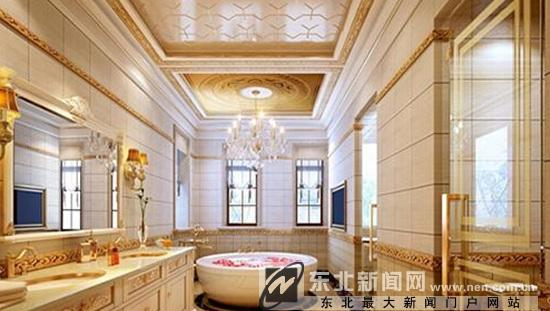 卫浴柜也选用米色作为主色调,四周的墙壁也张贴了浅米色的瓷砖,在灯光图片