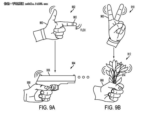 外观上,该设备以手套的形态出现,专利申请显示,该手套在用户的手腕位置带有一个球体装置,手套的每根手指处将集成弯曲和压力传感器,能够在虚拟空间渲染手指和手势的移动。另外通过接触传感器则可以判断用户的手指是否触摸到物体或手掌,根据手势进行交互的识别。