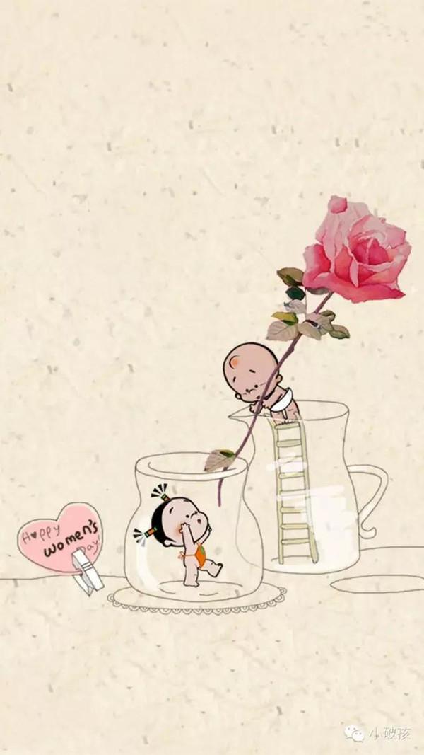 小破孩3月壁纸——春天到了,小破孩发芽了