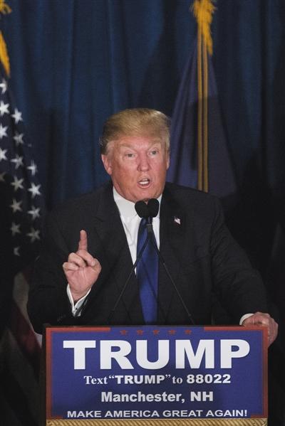 地产大亨唐纳德・特朗普领跑共和党初选。