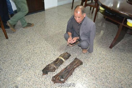 南宁警方缴获国家一级保护动物长尾叶猴干尸
