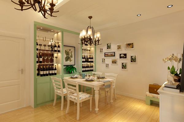 餐厅装修效果图 户型的缺陷利用酒柜搭配,在颜色上中和地面墙面的素雅
