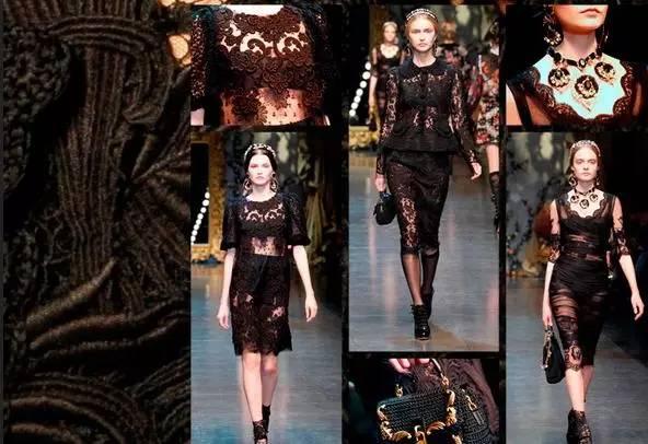 俏短的波浪状蕾丝衣摆使得上衣在硬朗性感中透露出高雅,哥特式袖型在图片