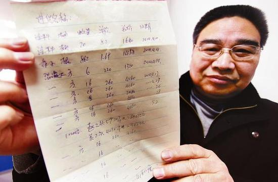 王徒弟展现儿子包工用的资料清单 本报记者 代泽均摄