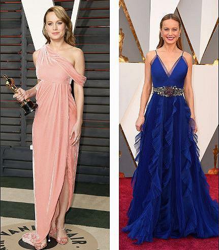 换装!在《名利场》派对上,布丽将颁奖典礼的红毯装(右)换成了新的天鹅绒礼服(左),大开叉尽显美腿(图片来源:网络)