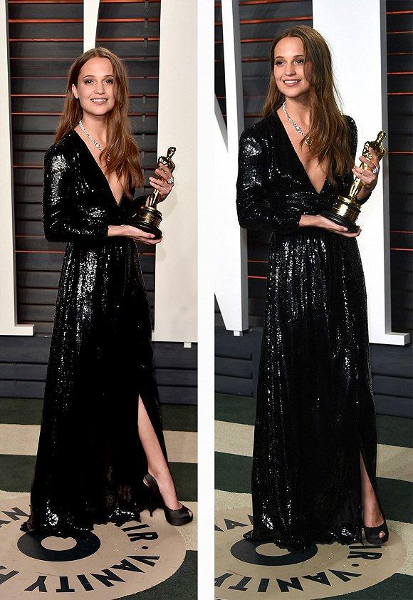 《丹麦女孩》的女演员艾丽西卡在派对上也重新换了一套礼服。