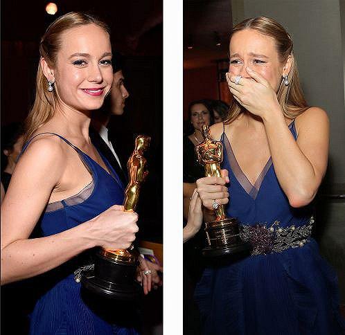 难以置信:布丽看起来很惊讶自己能拿奖,她在发表获奖感言中高调地向男友示爱