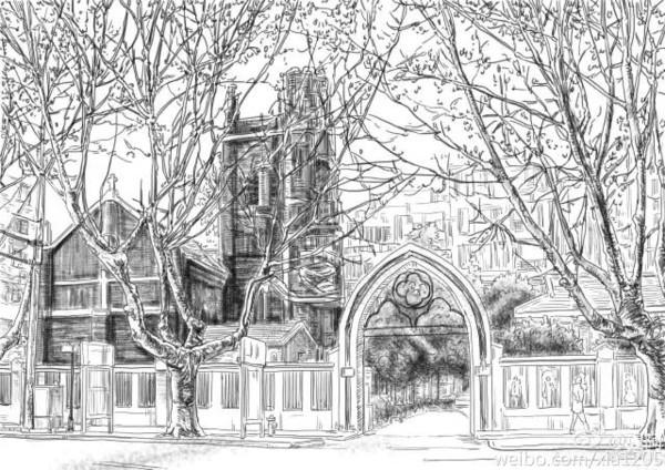 教堂铅笔手绘图