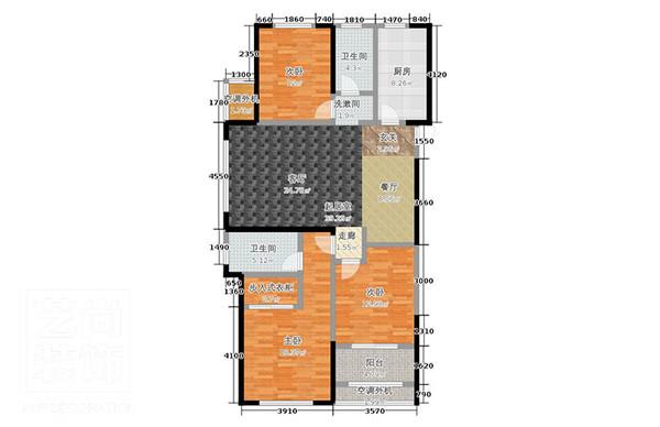 郑州公园道一号装修121平方三室两厅装修效果图高清图片