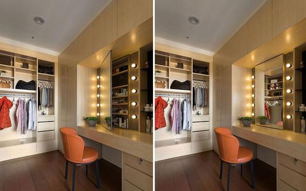 更衣室在规划完衣柜后如果仍有空间,不妨再配置化妆台,桌体本身同样