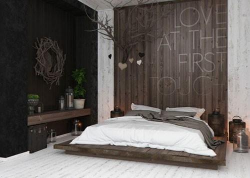 床头背板是纵向排布的棕色木板图片