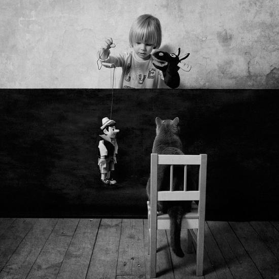 小女孩与短毛猫的黑白友谊(组图)