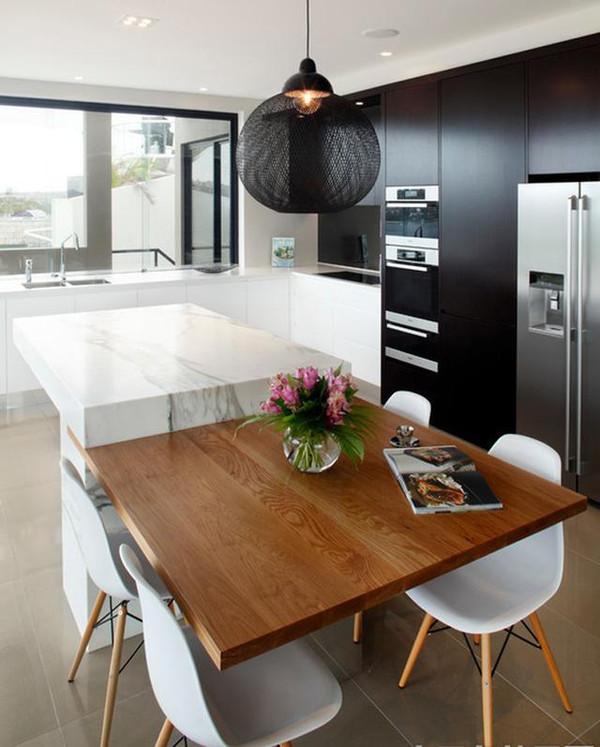 开放式厨房中岛吧台设计的方法